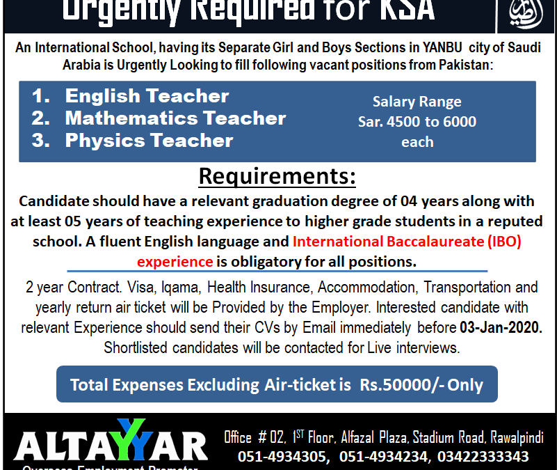 School Teachers Required For Saudi Arabia