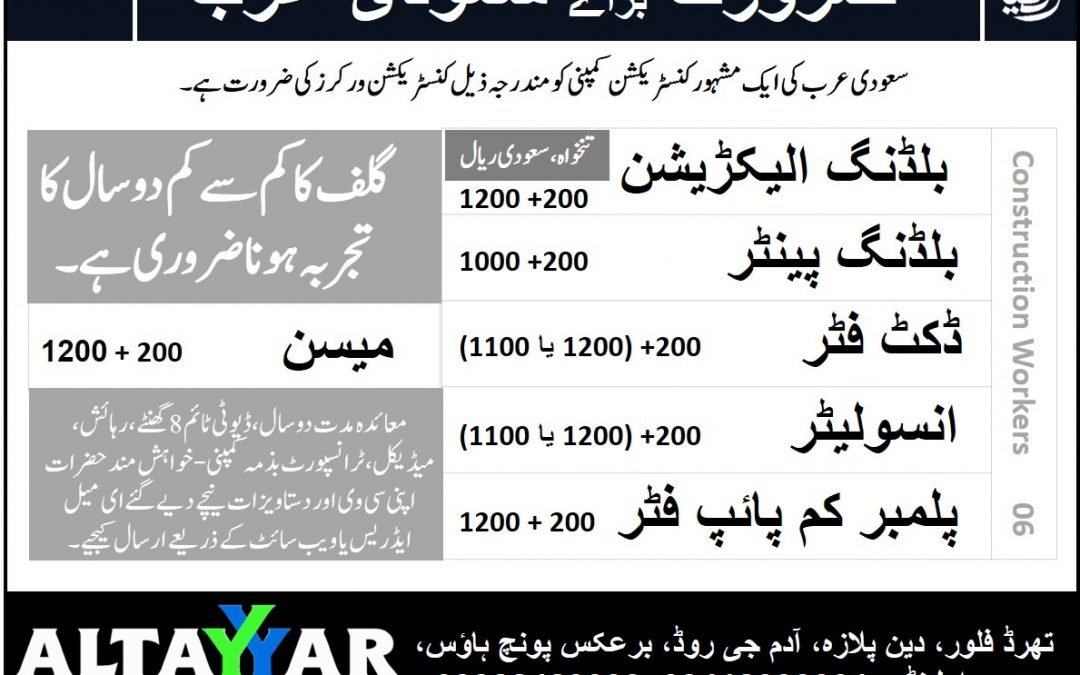 Construction Workers Required for Saudi Arabia